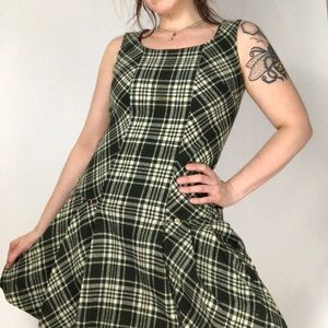 Vintage Wool Green Short Schoolgirl Dress
